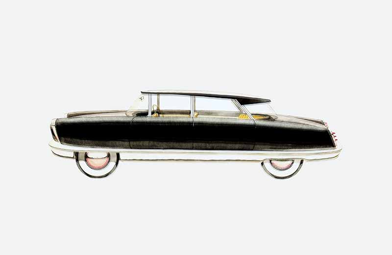 David Rowland 1949 black automobile drawing