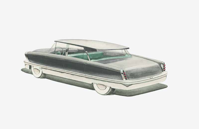 David Rowland 1949 grey automobile drawing