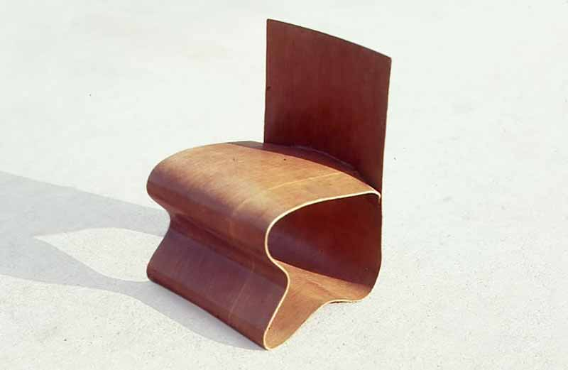David Rowland 1949 molded veneer chair front angle