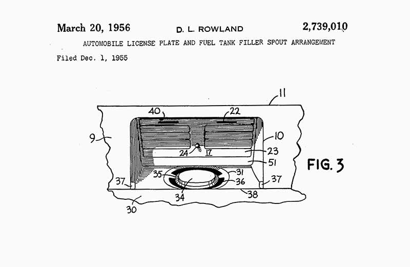 David Rowland 1951 license plate gas cap cover fig 3