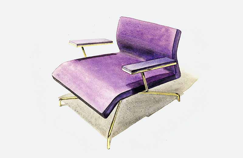 David Rowland 1953 lounge chair purple