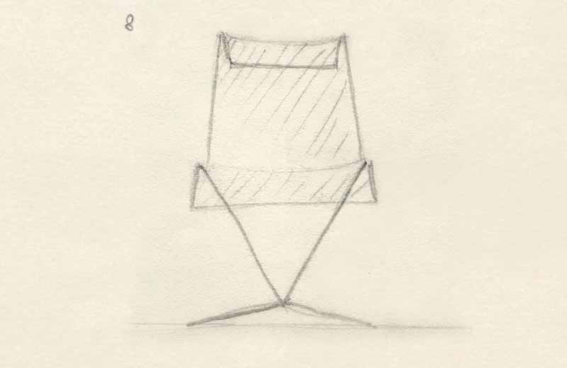 David Rowland 1957 mesh chair sketch
