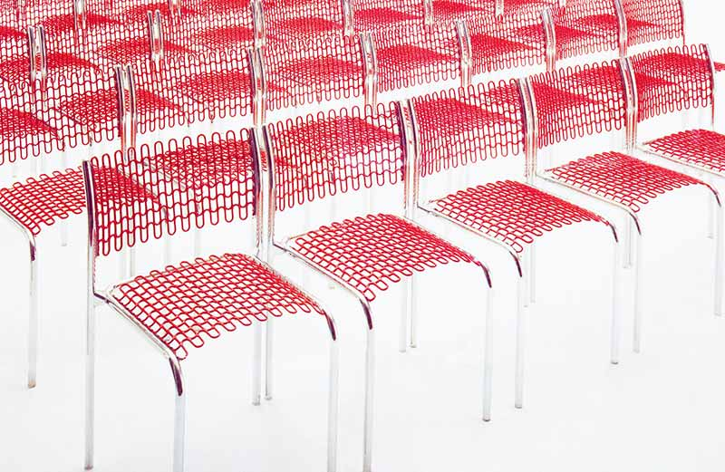 David Rowland 1973 Soflex red chairs